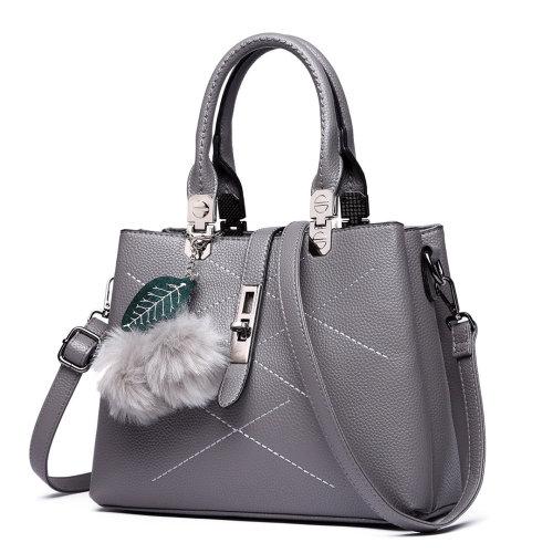 eeebd12b95 (Grey) Miss Lulu Women Shoulder Handbag Fur Ball Tote Cross Body Bag on  OnBuy