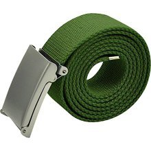 MENS UNISEX PLAIN WEBBING CANVAS COTTON BELT FIT 32-54 INCH BUCKLE LADIES ARMY [Green]