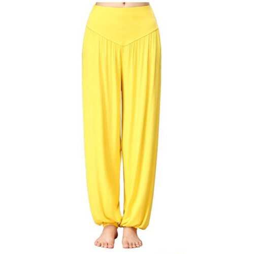Solid Modal Cotton Soft Yoga Sports Dance Fitness Trousers Harem Pants, H