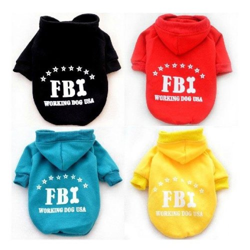 FBI Pet Dog Cat Cotton Hoodie Sweater Coat With Hat