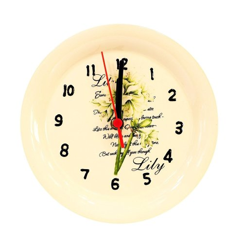 Home Decoration Ceramic Plate Shaped Lily Scene Wall Clock 20.5cm