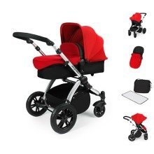 Ickle Bubba Stomp V2 All in One Travel System - Red on Silver Frame