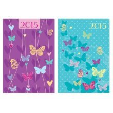 Tallon 0343 A6 Butterfly Silhouettes Cover Designs Diary -  diary week view 2017 a6 hardback butterflies glitter design slim butterfly 0343