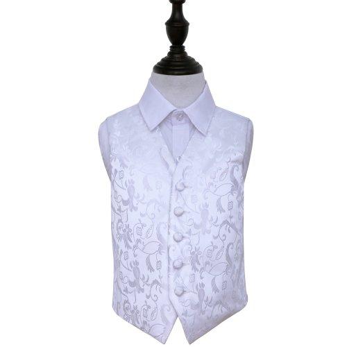 White Floral Wedding Waistcoat for Boys 28'