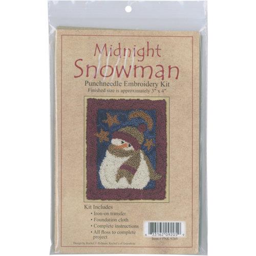 """Midnight Snowman Punch Needle Kit-3""""X4"""""""