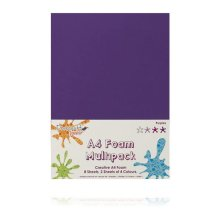 Dovecraft A4 Foam Sheets - 8 Sheets in 4 colours - Purples