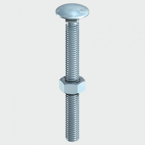 TIMco 0860CB Carriage Bolt and Hex Nut BZP 8.0 x 60mm Box of 100