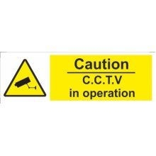 Caution Cctv Operation Self Adhesive Vinyl 300mm x 100mm - Castle Sign -  cctv operation vinyl x castle sign 100mm promotions caution 300mm self