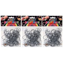 DIY Bands - 300 Count Silver Refill Silicone Bands with Clips and Loom Tool