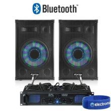 Pair of 12' Mobile DJ Disco Light Speakers with Amplifier & Bluetooth Kit 1200W