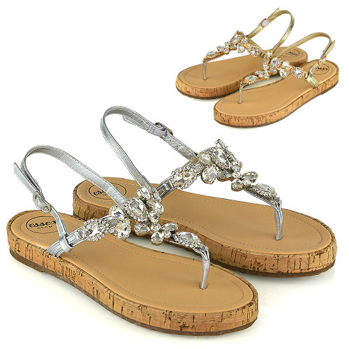 Womens Strappy Sandals Sparkly Flatform Ladies Diamante Summer Holiday Shoes