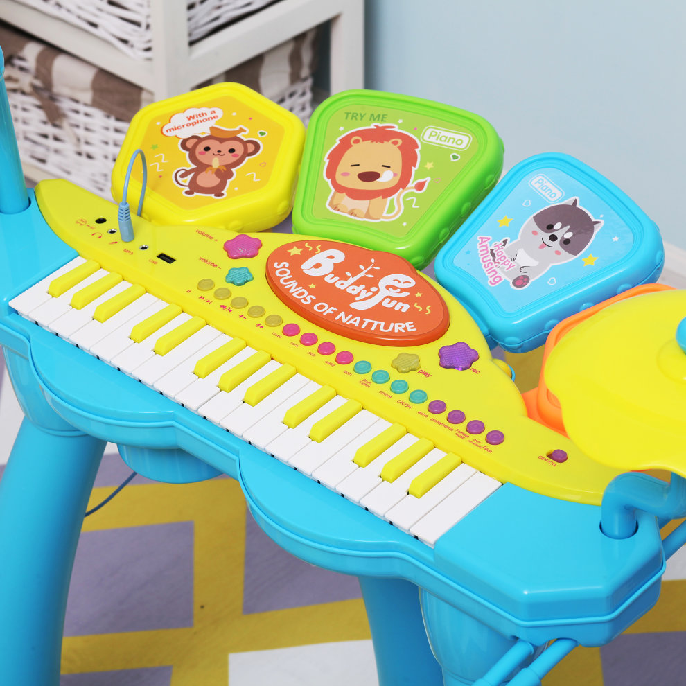 HOMCOM Kids Piano Keyboard Drum Set Electronic Musical Instrument Toy with  Microphone Stool Percussion Music Sound Educational