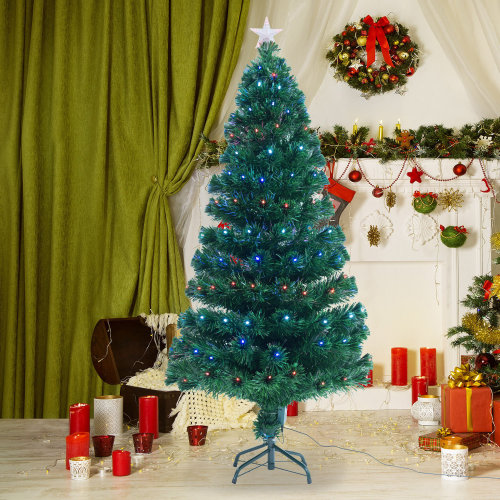 Homcom 4ft Green Fibre Optic Christmas Tree LED Lights (4ft (120cm)