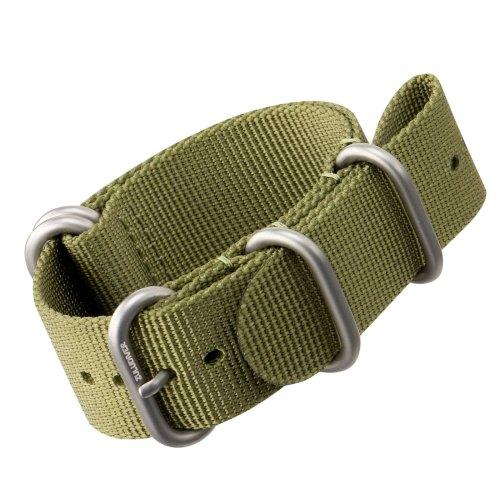 Nylon Watch Strap by ZULUDIVER®, Brushed ZULU Buckles, Green, 22mm