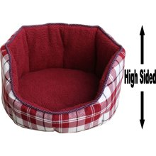 """Dog Bed Thick Red Chequered Material Fleece 22"""""""
