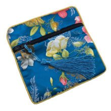 2PCS Chinese Style Purse Coins Jewelry Pouch Bag Zipper Pockets, Blue