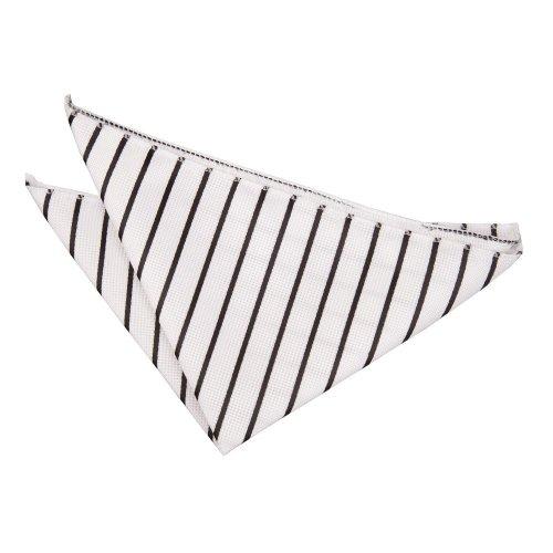 White & Black Single Stripe Pocket Square