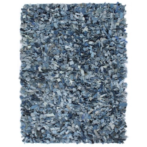 vidaXL Shaggy Rug Denim 80x160cm Blue Living Room Floor Protector Carpet Mat