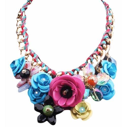 Colorful Fashion Flower Jewels Pendant Cord Necklace Shirt Decoration