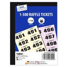 12 Pack 1-500 Cloak Room Raffle Tickets -  1500 cloakroom raffle tickets assorted stationery new