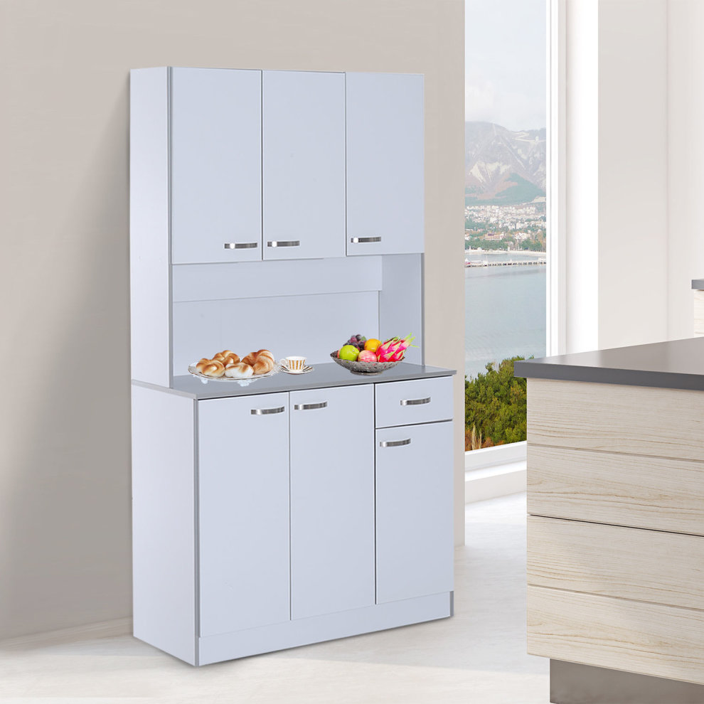 Kitchen Storage Shelf: HOMCOM Wooden Kitchen Multi Storage Cabinet Display