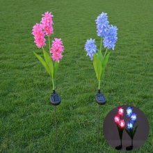 Solar Power Hyacinth Garden Stake Landscape Lamp Outdoor Yard Light