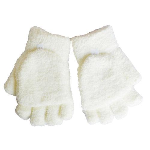 Women's/Girls Fingerless With Mitten Cover Plush Gloves,white