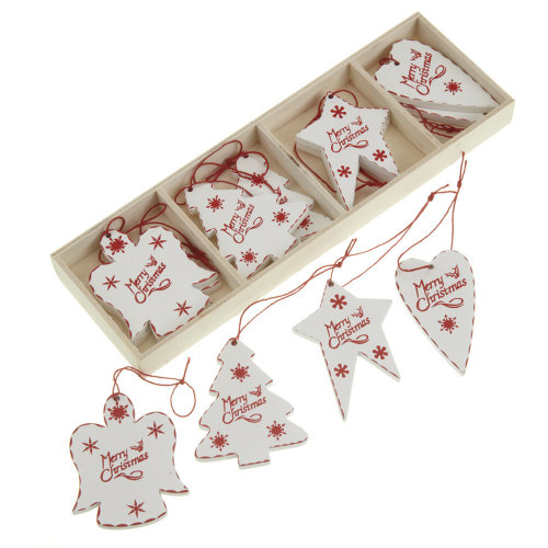 Christmas Tree Decorations Wooden Angel Tree Star Heart Decs In A Box x 12