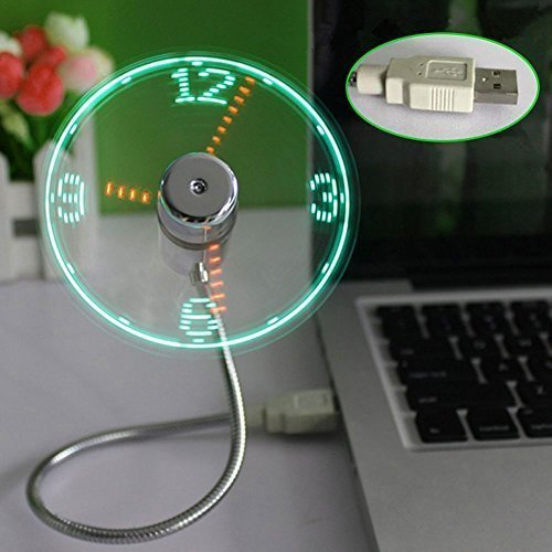 xlpace LED USB Fan Clock Mini Flexible Time with LED Light Cool Gadget
