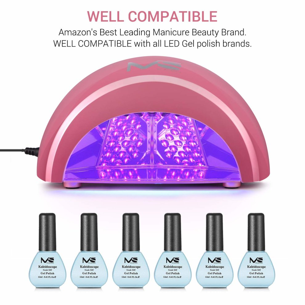 MelodySusie LED Nail Lamp, 12W Pink Professional Nail Dryer for Gel ...