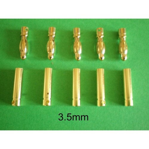 3.5mm Gold Plated Bullet Connectors For ESC x 5 pairs UK Stock