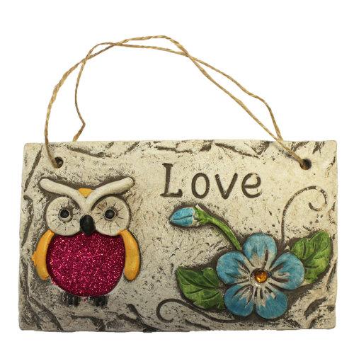 Garden Hanging Wall Plaque - Owl Design with Glitter Detail - Blue Flower Owl - Love