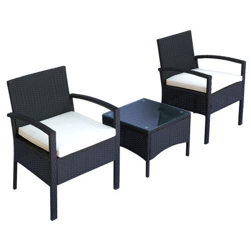 3pc Outsunny Rattan Bistro Set - Black | 2 Seater Garden Set