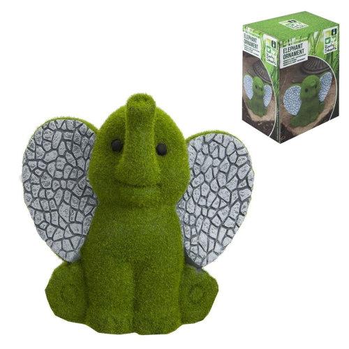 Roots & Shoots Flock Grass & Stone Effect Garden Ornament - Elephant