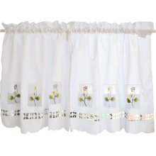 Sweet Embroidered Curtain Kitchen Curtain Coffee Screens- Flower