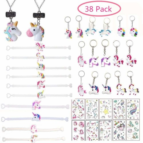 Yizeda 38 PCS Unicorn Party Supplies, Unicorn Keychains Rubber Unicorn  Bracelet Wristband Unicorn Necklace Unicorn Tattoos for Children Kids  Girls