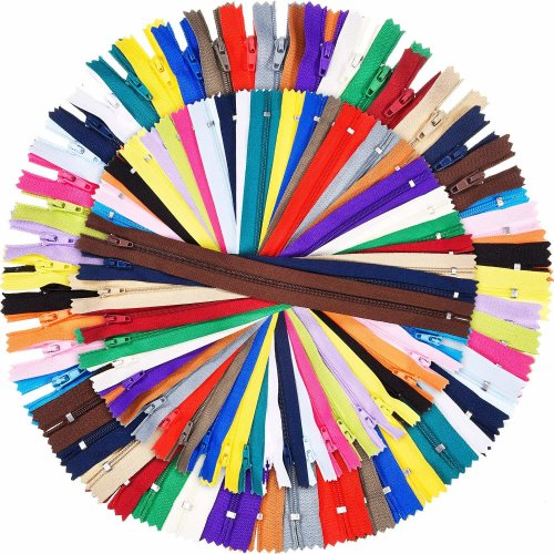 9 Inch and 12 Inch Zippers Sewing 25 Colors Nylon Coil Colorful Zippers Bulk for Sewing Crafts, 100 Pieces