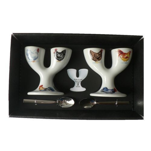 Chicken Double eggcups Set of 2 Gift Boxed