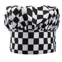 Trixes Black & White Chequered Chef Hat   Adult Fancy Dress Hat