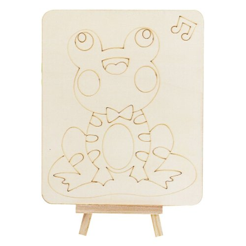 Set of 5 DIY Painting Wood Painting Early Education Tools Animals [Frog]