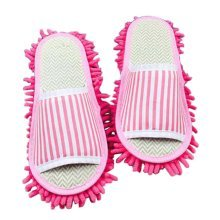 Creative Washable Mop Slippers Floor Cleaning Slippers Pink Stripe