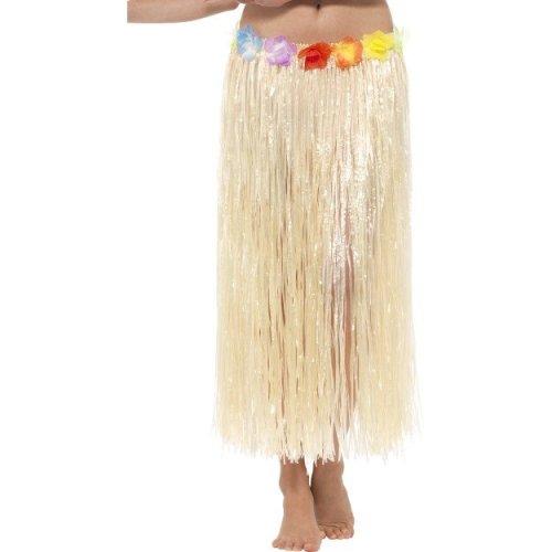 Smiffy's Women's Natural Hawaiian Hula Skirt - Fancy Dress Flowers Grass Ladies -  skirt hawaiian fancy dress flowers grass ladies