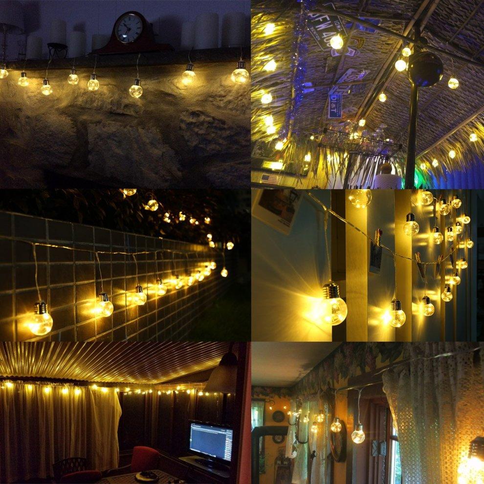Le Led Globe String Festoon Lights 6m Plug In 25 Pcs G45 Clear Bulbs Copper Wire