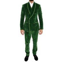 Dolce & Gabbana Green Velvet Slim Fit Double Breasted Suit