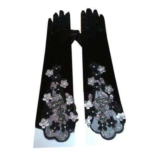 Women's Long Black Lace Elegant Bridal Gloves for Wedding/ Party/ Performance,B
