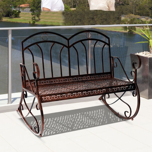 Outsunny 2 Seater Metal Garden Park Swing Bench Rocking Chair Loving Seat Bronze