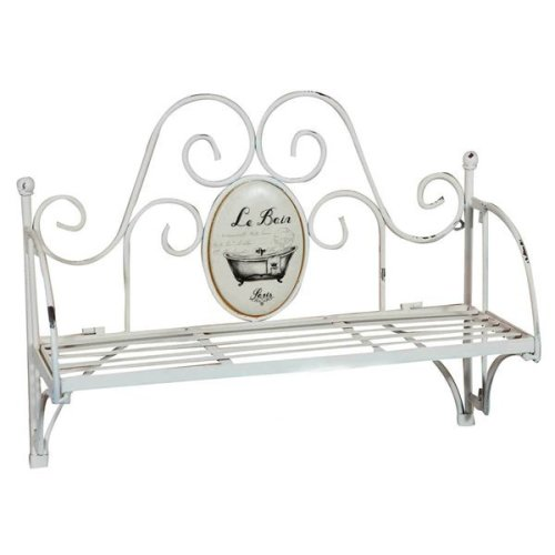 "Wrought Iron Made Shabby Finish  ""le Bain"" W55, 5xdp19xh43 Cm Sized Wall Shelf"