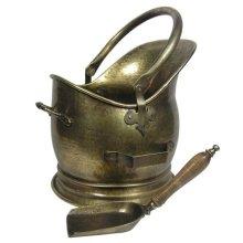 Antique Brass Coal Bucket -  vintage antique ash bucket fireplace coal buckets set fireside tools handle