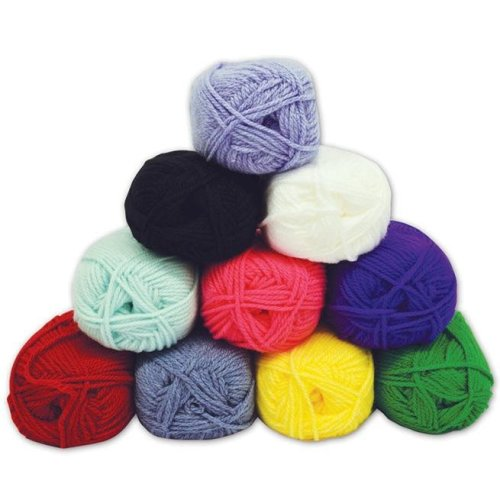 Coloured Chunky Knit Knitting Wool Yarn (Pack of 10 x 100g balls)