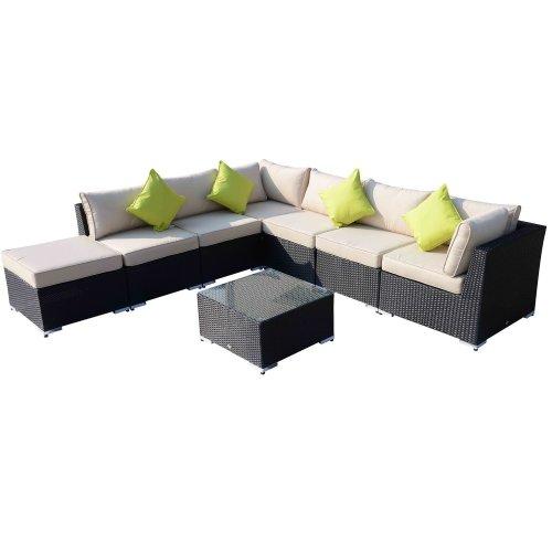 (Black) 8pc Outsunny Rattan Corner Garden Sofa Set With Cushions